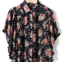 Floral Print Ruffle Cape in Navy