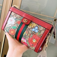 GUCCI New fashion floral print stripe more letter leather shoulder bag crossbody bag