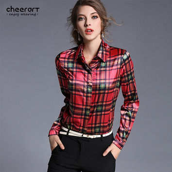 2017 Spring Red British Plaid Shirt Women Casual Long Sleeve Female Satin Blouse Slim Shirt Fitted Top Clothing