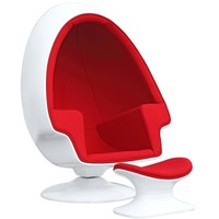 Alpha Egg Chair and Ottoman, Red
