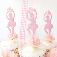 pink ballerina cupcake toppers / birthday party / set of 6