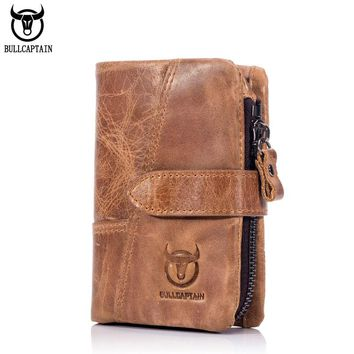 BULLCAPTAIN 2018 Trifold Hasp Zipper Short Wallets for MEN Cow Leather CASUAL Wallet Money Purse Bag Card Holder Coin Pocket