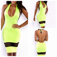 Yellow Halter Backless with Net Mesh Bodycon Dress