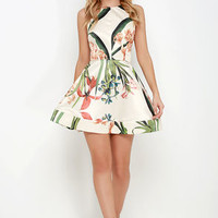 Sunny Centerpiece Cream Floral Print Skater Dress