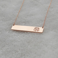 Monogram Bar Necklace Rose Gold, Monogram Initial Bar Necklace,Name Bar Necklace,Personalized Nameplate Bar Necklace,Rose Gold Bar Jewelry