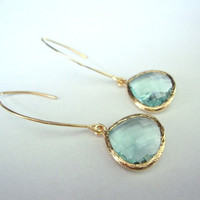 Mint drop earrings Mint Iolite glass drop on 16kt Vermeil gold marquise earrings, Valentines day gift for her  Mint fashion