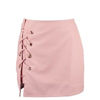 Sofia Lace Up Side Leather Look Mini Skirt | Boohoo