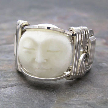 Carved Bone Bali Round Moon Face Sterling Silver Wire Wrapped Ring ANY size