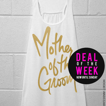 Mother of the Groom - Script - White with Gold Flowy Racerback Tank Top