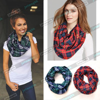 Plaid Tartan Checked Flannel infinity Scarf Wrap Shawl Cozy