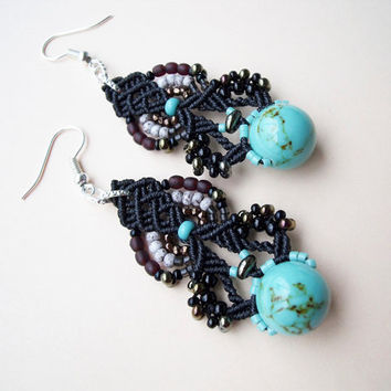 Bohemian micro macrame earrings - Black Turquoise Unique Free Spirit Boho