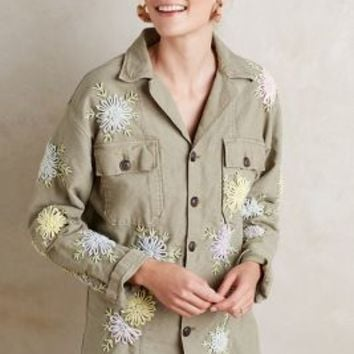 Artisan De Luxe Embroidered Poppy Shirt Jacket in Moss Size: