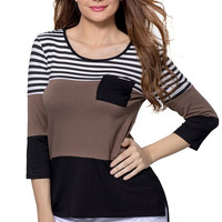 Black Coffee Color Block Striped Pocket Long Sleeve Blouse Top