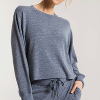 The Triblend Long Sleeve Cropped Tee- Black Iris