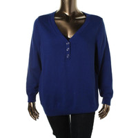 Karen Scott Womens Plus Knit Ribbed Trim Henley Sweater