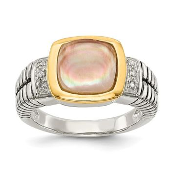 Sterling Silver Two Tone Silver And Gold Plated Sterling Silver w/Black Mother of Pearl & Diamond Ring