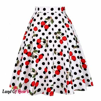 Plus Size Retro Casual Vintage Skater White Polka Dot Pinup 50s Rockabilly Skirts
