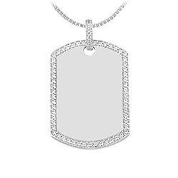 Diamond Dog-tag Pendant : 14K White Gold - 1.50 CT Diamonds
