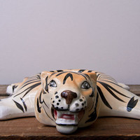 Vintage Soap Dish Bathroom Siberian Tiger made in Japan striped animal print lovely