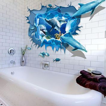 New Qualified Wall Stickers Removable Dolphin 3D Sea Ocean Stickers Wall Decal Mural DIY Decor Kid Room Art dig654