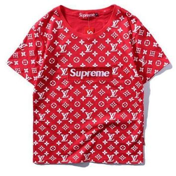 Supreme x LV Fashion Print Embroider Short Sleeve Tunic Shirt Top Blouse-1