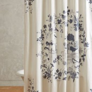 Kojani Sketch Shower Curtain by Anthropologie Slate One Size Shower Curtains