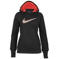 Amazon.com: Nike Womens All Time Swoosh Out Hoody - Black/Sunburst-L: Clothing