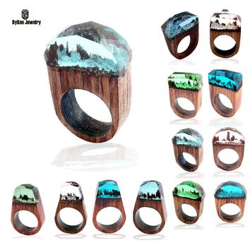 New Fashion Resin Wood Rings Forest Fangorn Parts Tree Film Wood Resin Ring