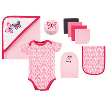 Baby 9 Piece Bathtime Set. Pink/White Butterfly Baby Girl Bath Time.