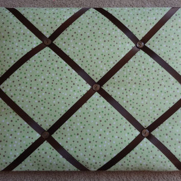 10% OFF Picture / Memo Board Green Brown Polka Dots Boy French Ribbon Memo Board