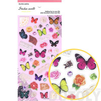 Colorful Tropical Butterflies Roses and Lace Shaped Stickers | Cute Insect Themed Scrapbook Decorating Supplies