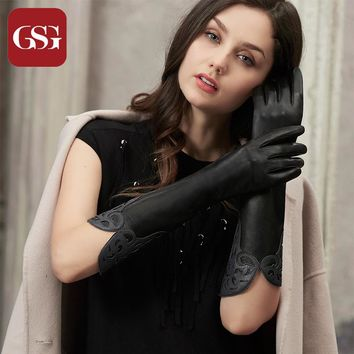 GSG Long Leather Gloves Womens Fashion Patched Ladies Driving Gloves Winter Thermal Fleece Lined Warm Gloves Elbow Mittend