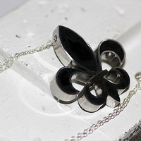 Fleur de Lis Pendant / Necklace - Stainless Steel with Black Concrete & Clear Crushed Glass