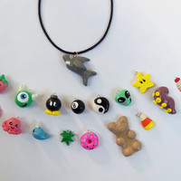 Custom Kawaii charm choker necklace, leather choker with kawaii charm