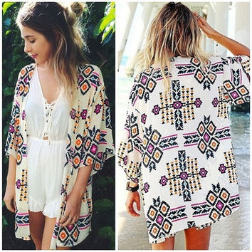 Women Geometry Printed Chiffon Shawl Kimono Cardigan Tops Cover Up Blouse FLF [8323209217]