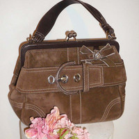 Coach Suede Leather Handbag  Purse with Velvet Bow Bling