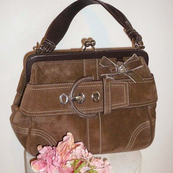 Coach Suede Leather Handbag Purse with from VintageReinvented on b7abd8734c08