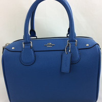New Authentic Coach F57521 Mini Bennett Satchel Shoulder Bag Crossgrain leather in Lapis