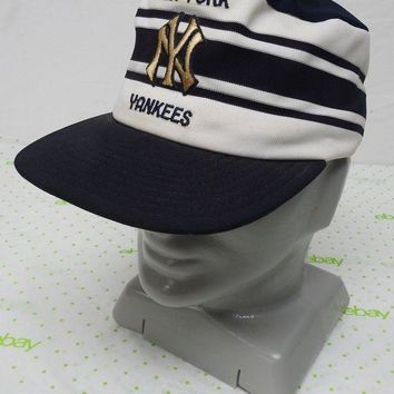 CREYONIA Vintage NY Yankees hat cap snap back blue white classic stripes made in USA Larg