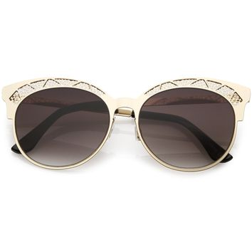 Women's Laser Cut Design Cat Eye Flat Lens Sunglasses C313