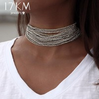 $12.99 Crystal Rhinestones Multilayered Choker Necklace for Women New