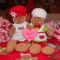 Personalized Stuffed Gingerbread Couple - Kitchen Gingerbread, Valentine's Day