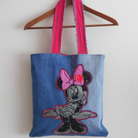 Recycled Jeans Handbags, Applique Bags, Lined Bags, Women's Bags, Fashion Handbags jeans, Handmade Bags