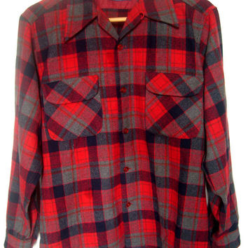Vintage Men's Pendleton Board Shirt Wool Red Plaid Size Large