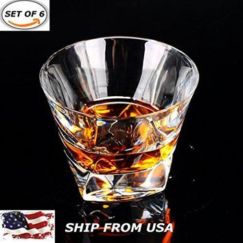 HUAPPO Retro Tumbler Glasses Barware Lead Free Cup for Home Bar Drinking Whiskey Wine Vodka 10.58oz, Set of 6