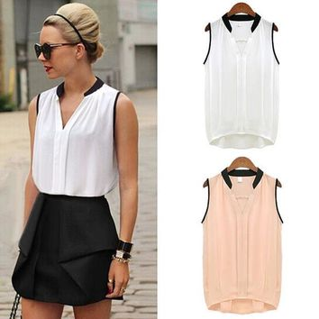 ESBONHS Summer Women Casual Chiffon Blouses Solid Sleeveless Soft Shirts Women Tops Cheap High Quality Clothes V-neck Blusas Femininas