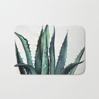 Vintage succulent agave aloe cactus antique desert botanical print boho tribal chic Bath Mat by iGallery