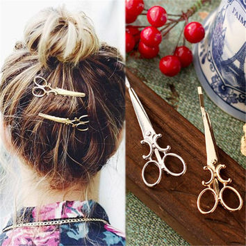 Creative Scissors Shape Women Lady Girls Hair Clip Delicate Hair Pin Hair Barrette Hair Accessories Decorations