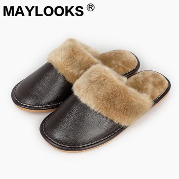Men's winter leather leather slippers candy color fashion warm plush waterproof indoor men's slippers N-005