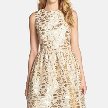 Women's Chetta B Metallic Leaf Jacquard Fit & Flare Dress,